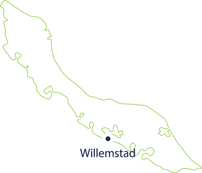 Curacao map with Willemstad